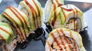 How To Make a Palm Beach Shrimp Tempura Sushi Roll with Avocado on Top