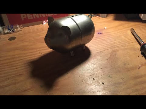 Opening an OLD piggy bank live