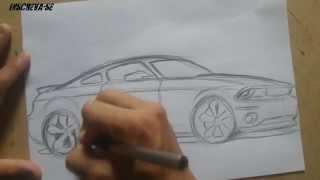 Como Desenhar um carro (Mustang GT 500) How to draw cars