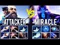 !Attacker vs Miracle - Top 1 Kunkka vs 9k M-God Dota 2