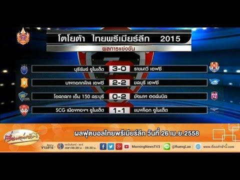 เรื่องเล่าเช้านี้ ผลฟุตบอลไทยพรีเมียร์ลีก วันที่ 26 เม.ย.2558 (27 เม.ย.58)