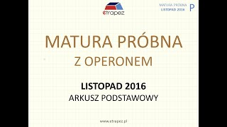 Matura Operon listopad 2016 matematyka - arkusz podstawowy