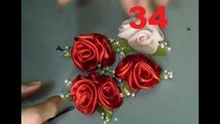 Arranjos de rosas rococó de cetim – Edirlene Aulas de Flores de Tecido