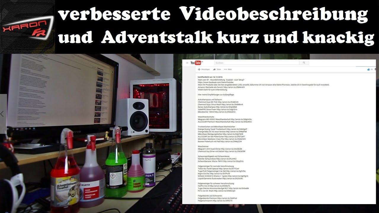 verbesserte videobeschreibung und adventstalk kurz und knackig youtube