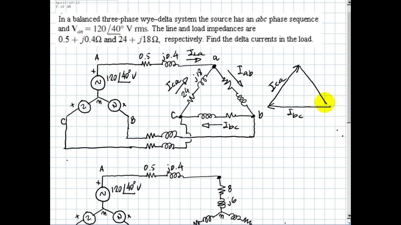 IRWIN 1127: Three Phase Tutorial, currents in a delta