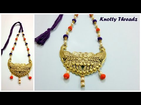 How to make a Peacock Pendant Necklace using Thread Beads at Home | Tutorial !!