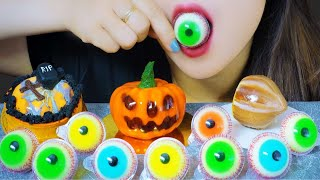 Download AMSR EATING HALLOWEEN CAKE X CANDY (  GRAVE-SHAPED TART , PUMPKIN CAKE  , EYE BALL GUMMY CANDY )