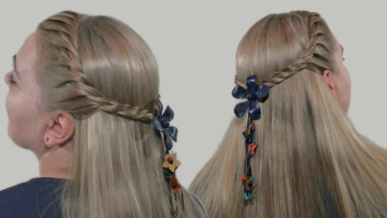 Плетение косички на распущенных волосах