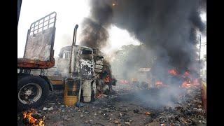 Queman dos camiones con ayuda humanitaria en puente fronterizo con Venezuela | Noticias Caracol