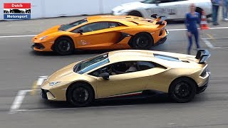 Lamborghini Aventador SVJ vs. Huracan Performante vs. 1200HP GTR vs. 570S - DRAG RACE !