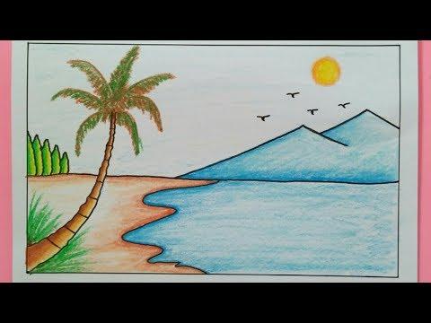 Cara Menggambar Pemandangan Pantai  - How To Draw A Scenery Of Sea Beach