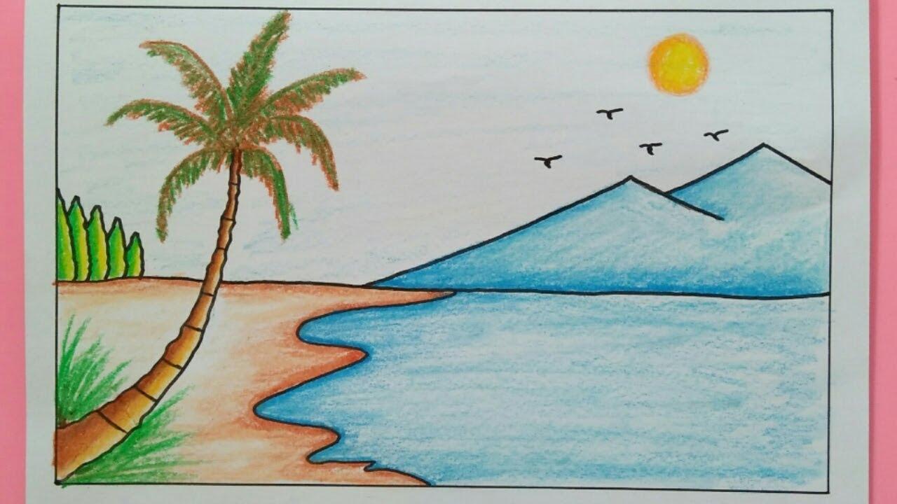 Cara Menggambar Pemandangan Pantai How To Draw A Scenery Of Sea Beach Youtube