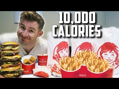 WENDY'S SUPERCHARGED MENU CHALLENGE! (10,000+ CALORIES)