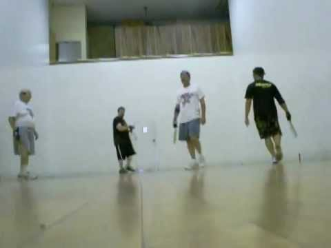 """Racquetball racquet: """"Playin the Old School Racquets"""""""