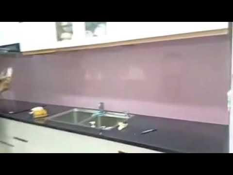 Kính ốp bếp - XEM MẪU KÍNH ỐP BẾP ĐẸP MÀU HỒNG