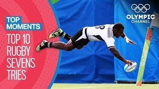 Top 10 Men's Rugby 7s Tries at the Olympics   Top Moments