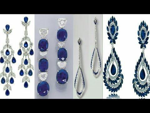 gorgeous-blue-sapphire-&-diamond-earrings-designs-2019-  -studs