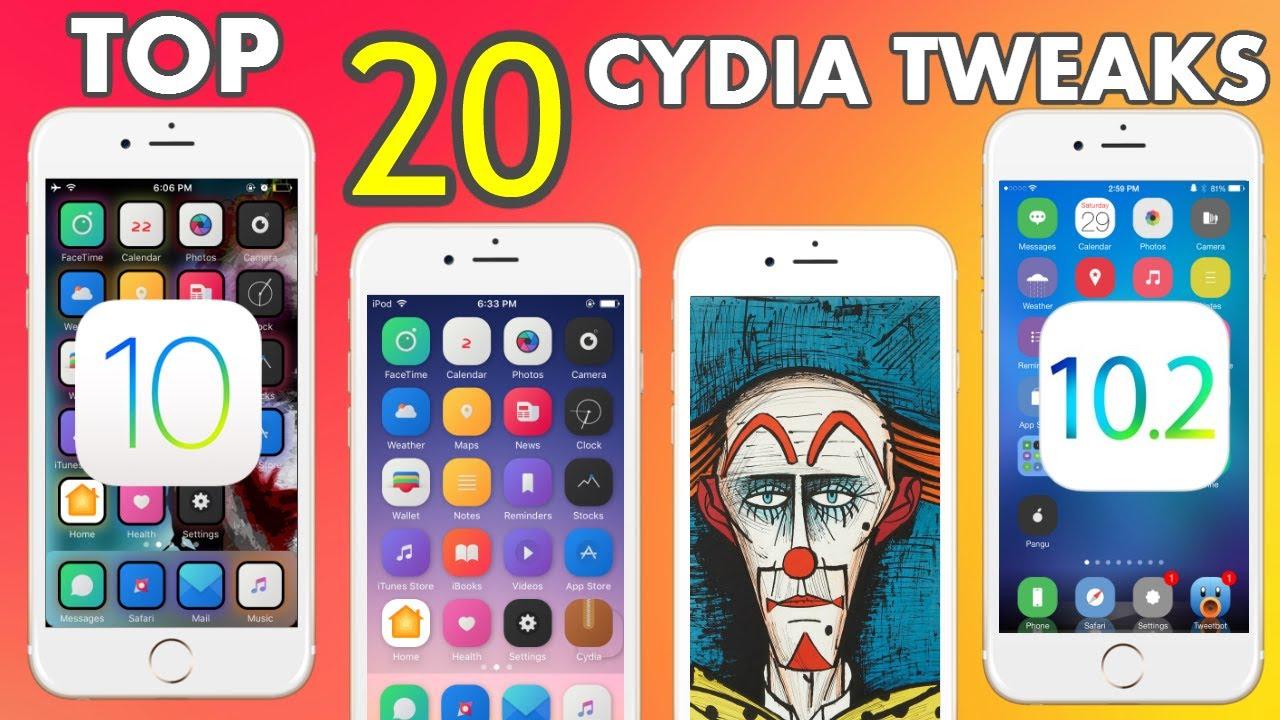 Top 20 Cydia Tweaks For iOS 10 - 10 2 / 2017 - iPhone iPad iPod - Видео