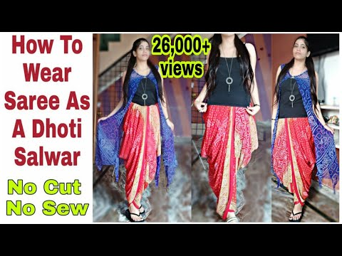 diy:-how-to-wear-saree-as-a-dhoti-salwar-no-sew-no-cut|drape-saree-as-dhoti-salwar-2019|neshafashion