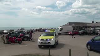 Eastbourne and Birling Gap CoastGuard leaving on a 999 Call to beachyhead