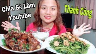 🇯🇵Sườn Ram Phủ Mè & Rau Muống Xào Tỏi Vét Sạch Nồi Cơm - Chia Sẻ Cách Làm Youtube Thành Công #253