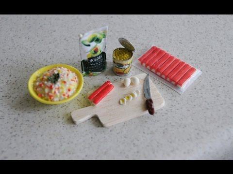 Еда для кукол. Салат Крабовые палочки / Food for dolls. Salad Crab sticks