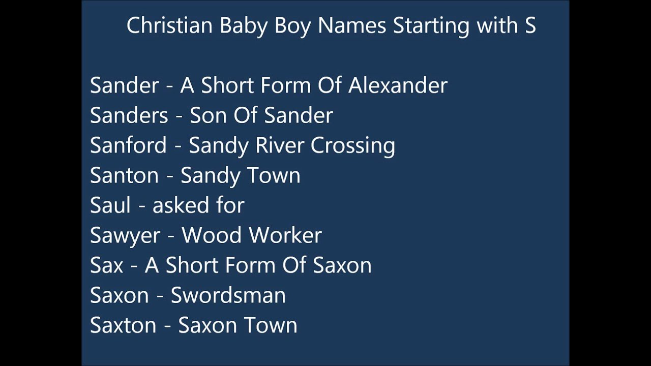 Christian Baby Boy Names S