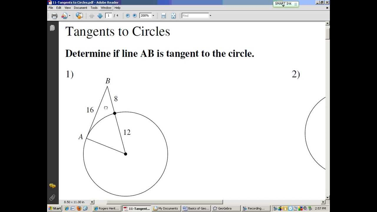Tangents of Circles YouTube – Tangents to Circles Worksheet