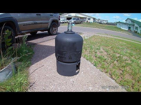 Propane tank wood stove VIDEO easy no welding build pt.1