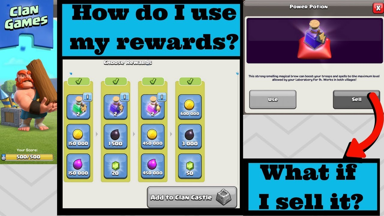 HOW TO USE MAGICAL POTIONS AFTER COMPLETING CLAN GAMES | CLAN REWARD  EXPLANATIONS | Clash of clans