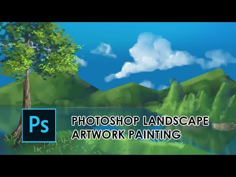 Photoshop Round Brush Landscape Painting Artwork (With Using Mouse)
