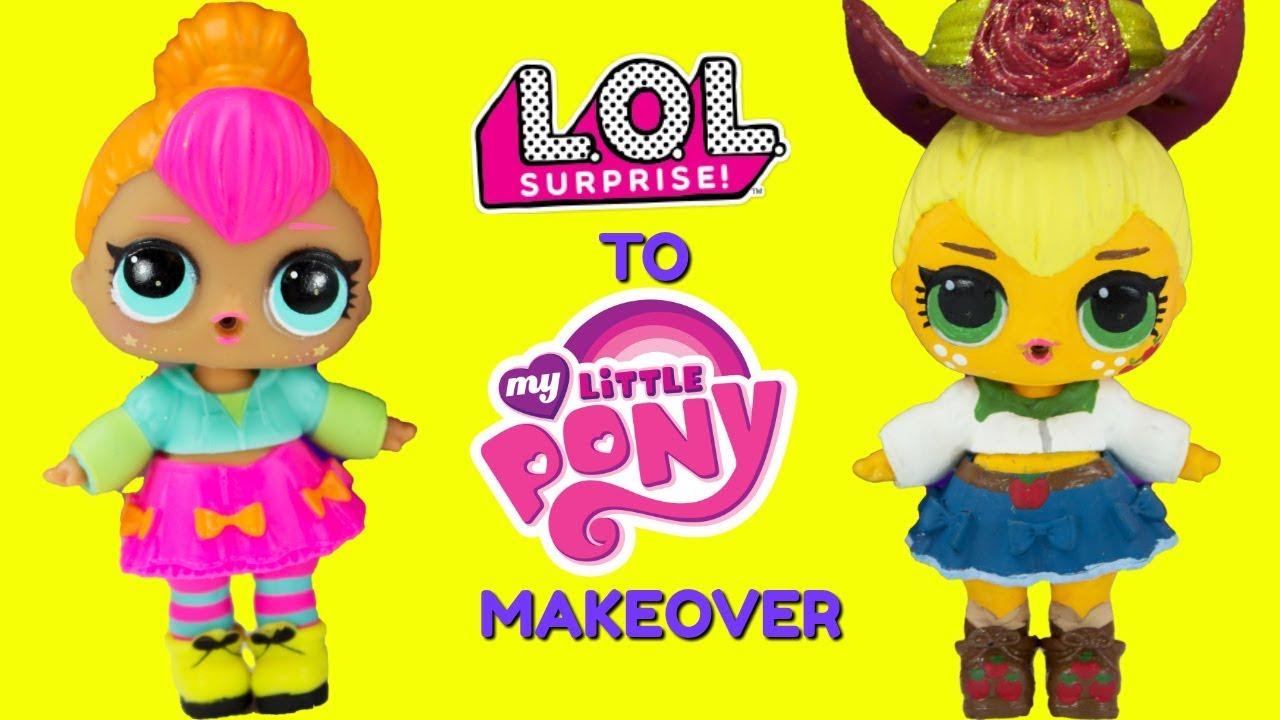 Diy Custom Neon Cutie To Applejack Lol Surprise Doll My Little Pony Makeover Youtube