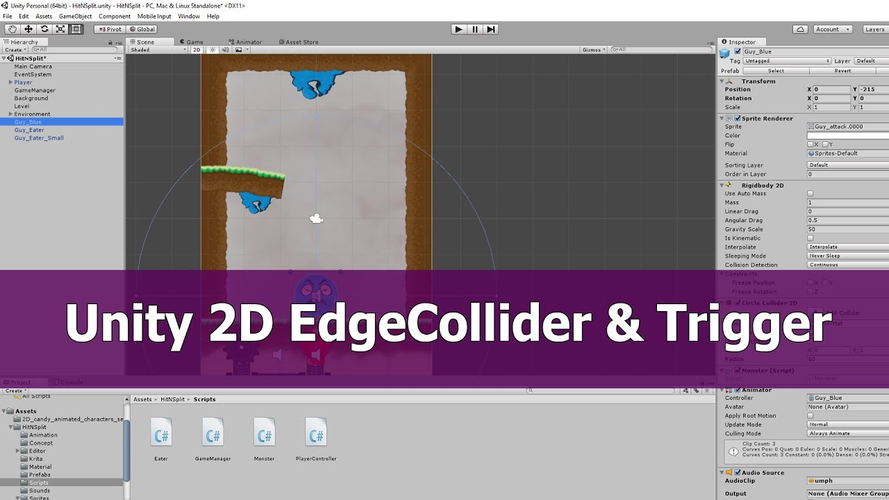 Unity 2D Sprite animation: Edge Collider and Trigger