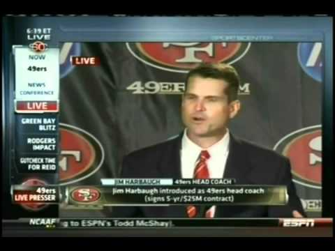 New 49ers Coach Jim Harbaugh talks about building a Cathedral
