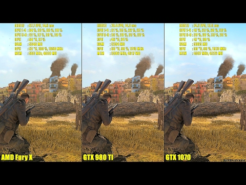 Sniper Elite 4 Pc DX12 GTX 1070 Vs GTX 980 TI Vs AMD Fury X Frame Rate Comparison