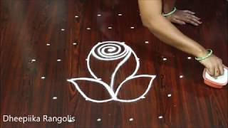 Rose Flowers Rangoli with 7 dots || नवीनतम फूल दैनिक रंगोली ||  గులాబీ పూలు ముగ్గు