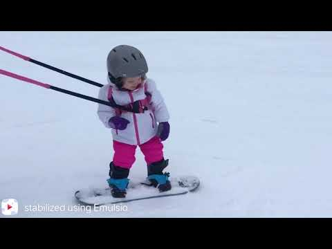 Addi's first time snowboarding. 2 years 7 months. Silver Mountain.