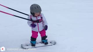 Addi's first time snowboarding. 2 years 7 months. Silver Mountain. thumbnail
