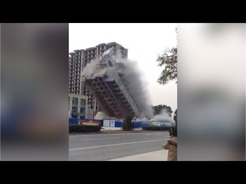 Like a Hollywood blockbuster! 18-story building demolished in 7 seconds