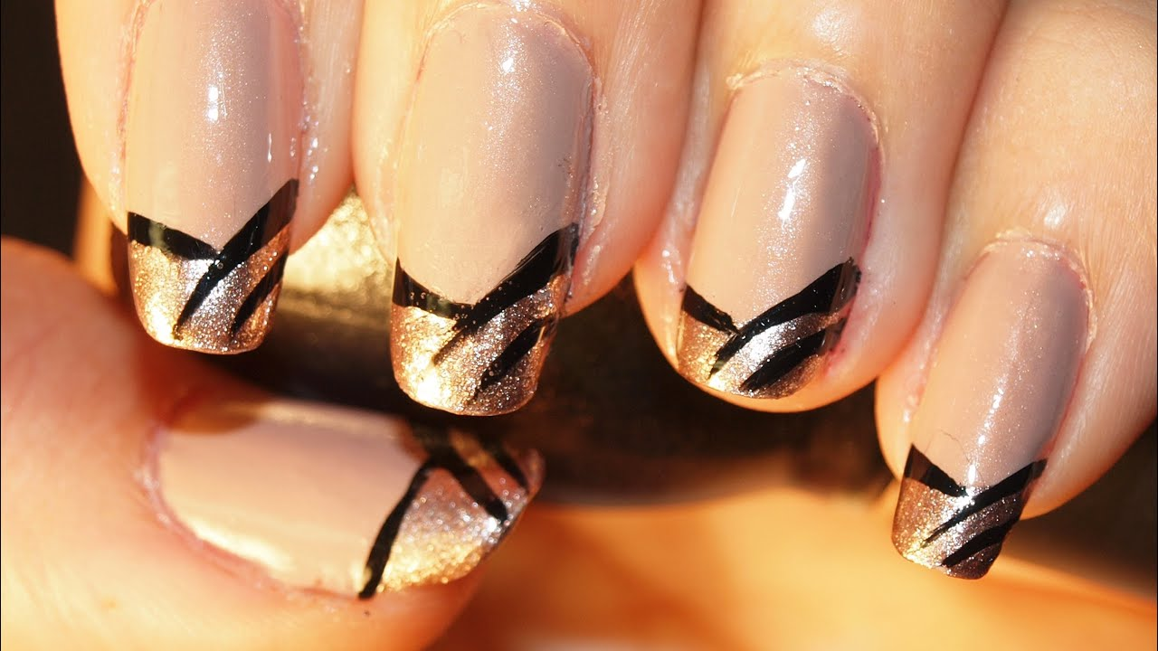 French Tip Nails - Zebra French Tip Manicure Glitter Gold - YouTube