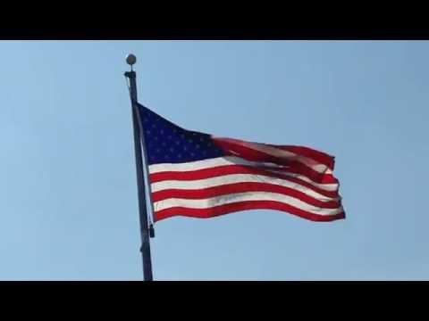 American Flag Waving At Triphahn Center