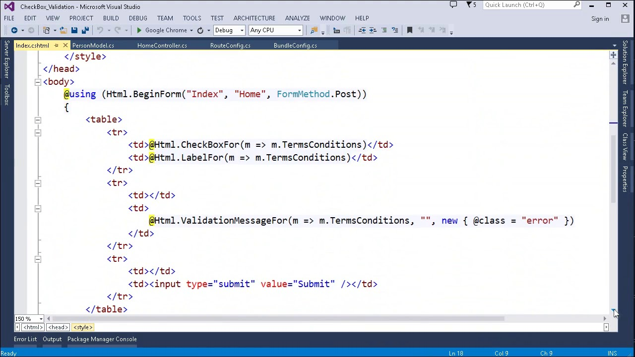 MVC Razor - Use JQuery for CheckBox Client Side validation in ASP Net
