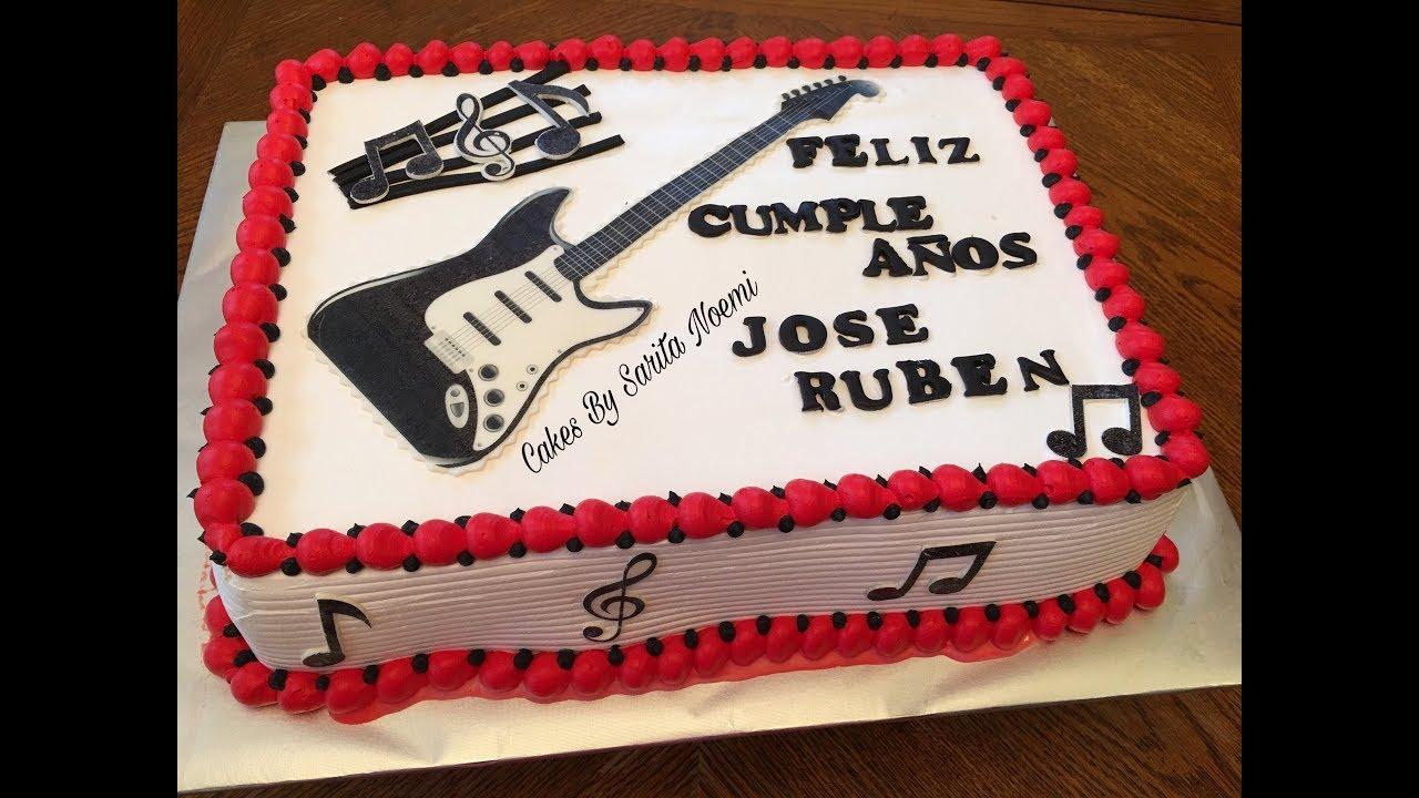 Electric Guitar Cake Pastel Con Imagen Comestible De Guitarra Electrica Tres Leches