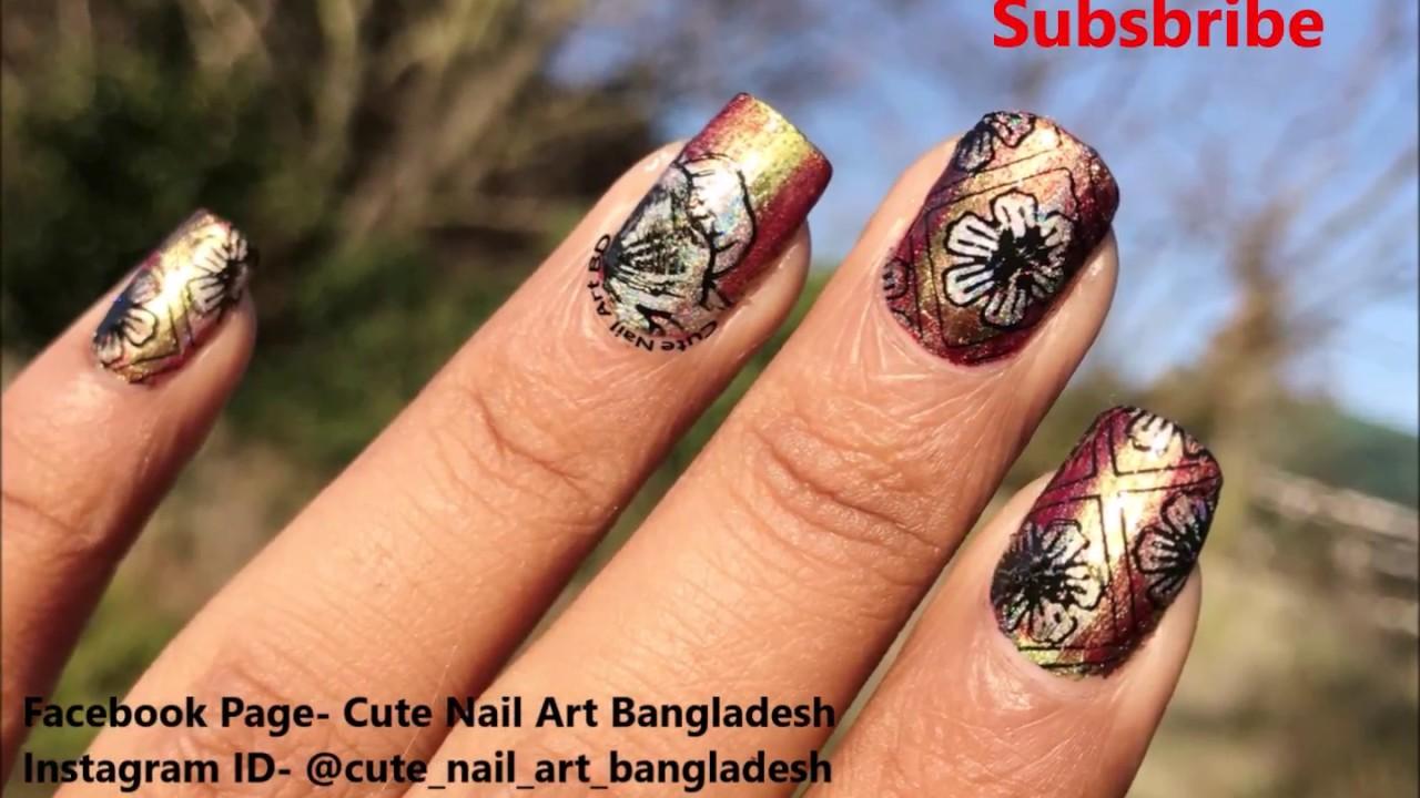 Reverse Stamping Nail Art with Holographic Nail Polish 2018 ...