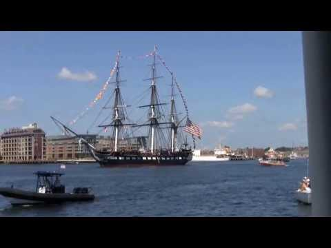 USS Constitution cruising Boston Harbor