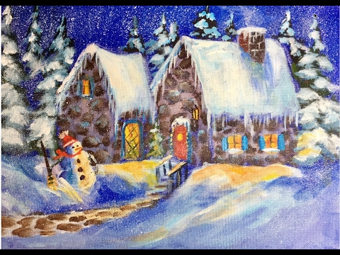 Beginners Christmas Snow Cottage Acrylic Painting Tutorial With Ginger Cook