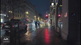 Evening Walk In The Rain In Riga City- Street\u0026Rain Binaural Relaxing Sounds Latvia - ASMR 4K