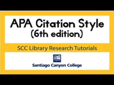 APA Citation Style 6th Edition Tutorial