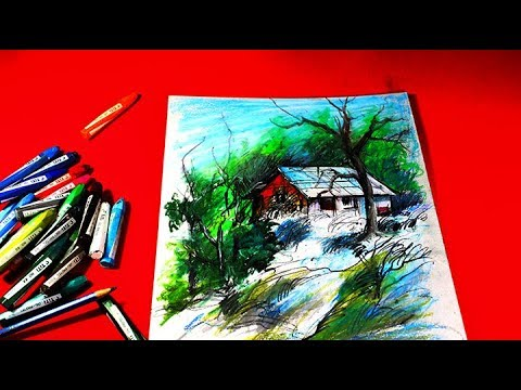 most wonderful landscape pastel painting /Pastel Painting  /pastel painting oil pastel landscape