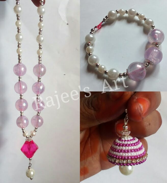 Papercraft Pink & White  Set - Rajee Art  | Quiiling  | Beads  |  Pearls